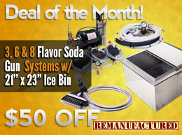 Deal of the Month: $50 OFF 3, 6 & 8 Flavor Soda Gun Systems with 21 x 23 Ice Bin Cold Plate (Drop-in)