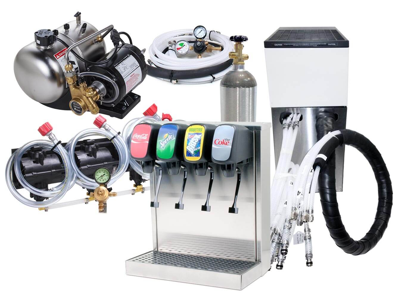 4-Flavor Tower Soda Fountain System with Remote Cooler (NEW)