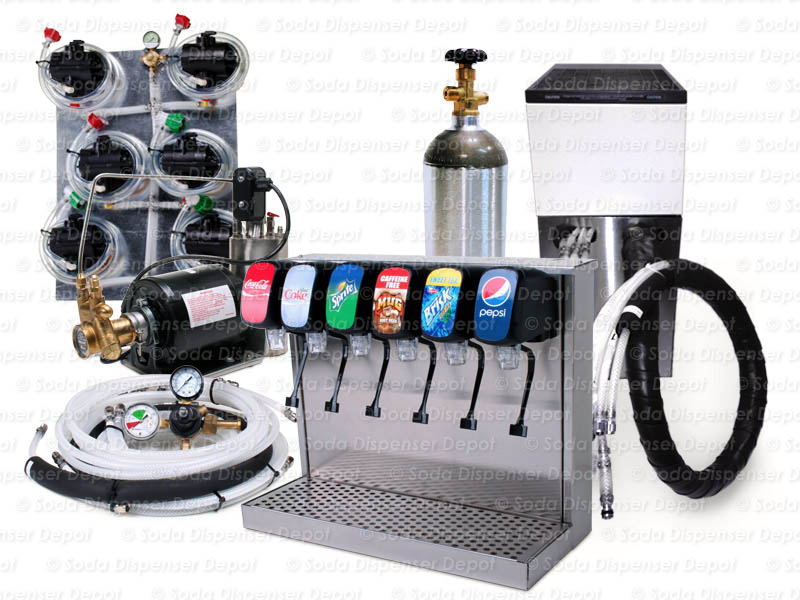 6-Flavor Tower Soda Fountain System with Remote Chiller