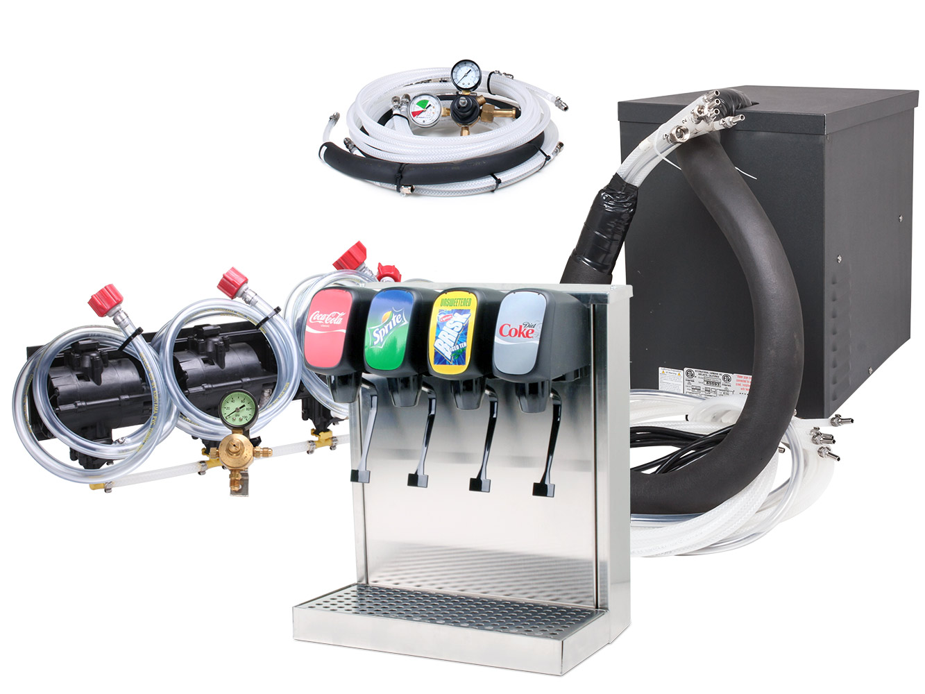 4-Flavor Tower Soda Fountain System with Compact Remote Chiller
