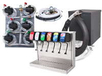 6-Flavor Tower Soda Fountain System w/ NEW Compact Remote Chiller