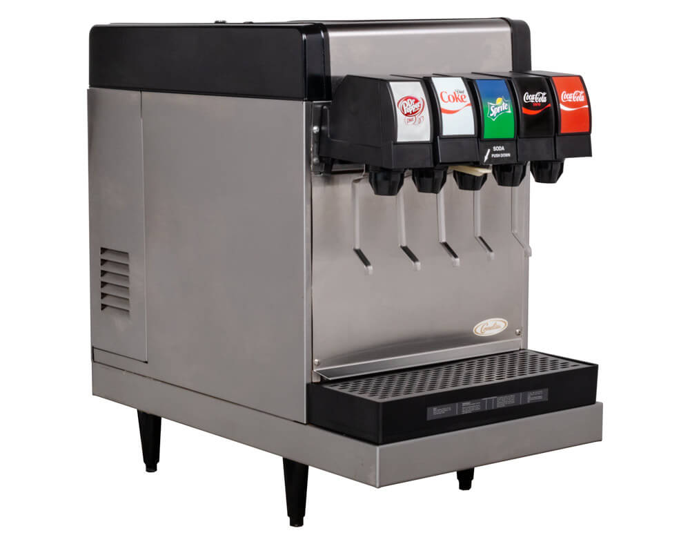 5-Flavor Counter Electric Soda Fountain System w/ Internal Carbonation (angle)