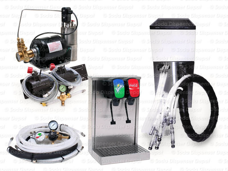 Complete 2-Flavor Tower Soda Fountain System w/ Remote