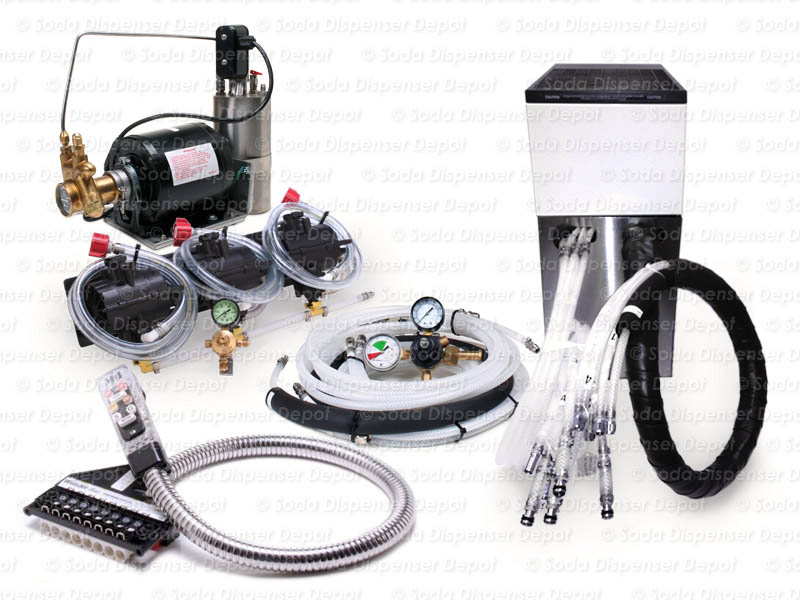 3-Flavor Soda Gun Fountain System with Remote Chiller