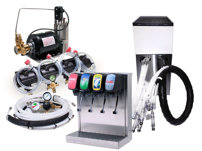 Complete 4-Flavor Tower Soda Fountain System w/ Remote