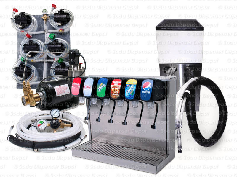 Complete 6-Flavor Tower Soda Fountain System w/ Remote