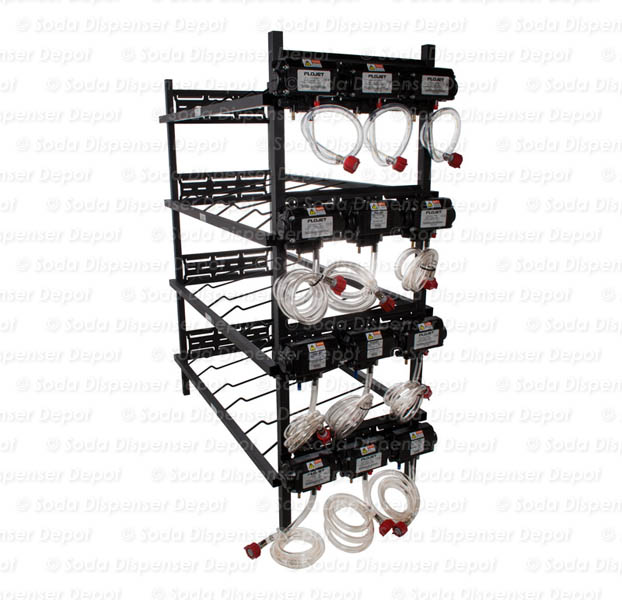Twelve (12) Syrup Pumps on Syrup Racks with Secondary Regulator