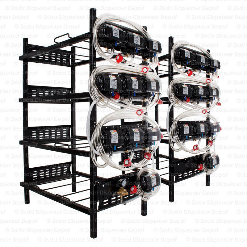 20 Flojet Syrup Pumps on Syrup Racks