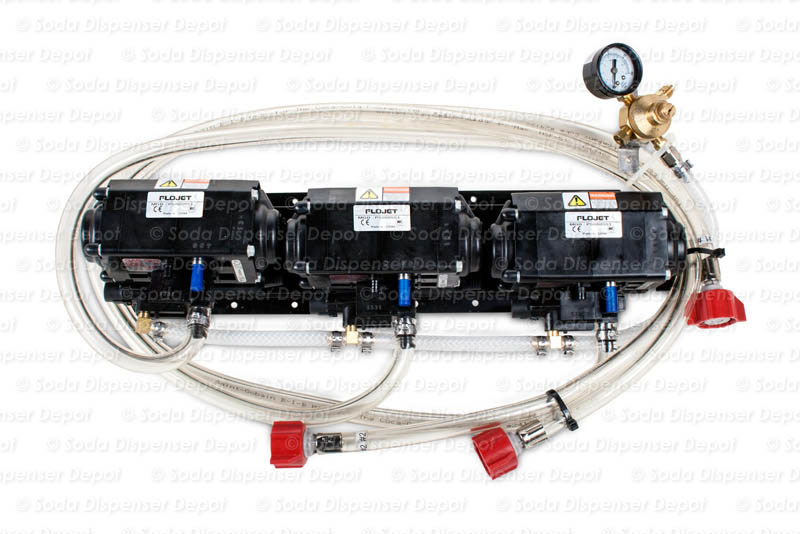 Three (3) Syrup Pumps w/ Secondary Regulator