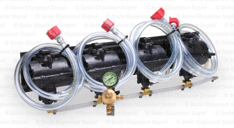 Four (4) Syrup Pumps w/ Secondary Regulator