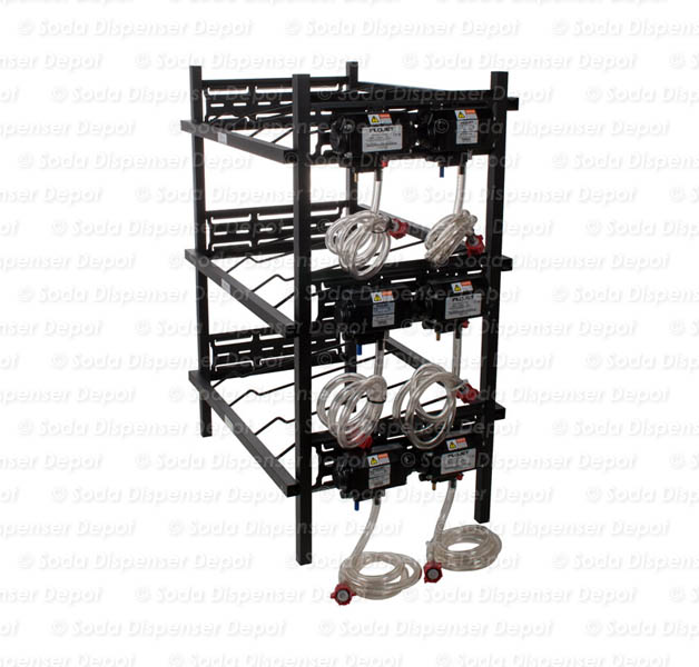 Six (6) Syrup Pumps on Three (3) Double Rack Tiers