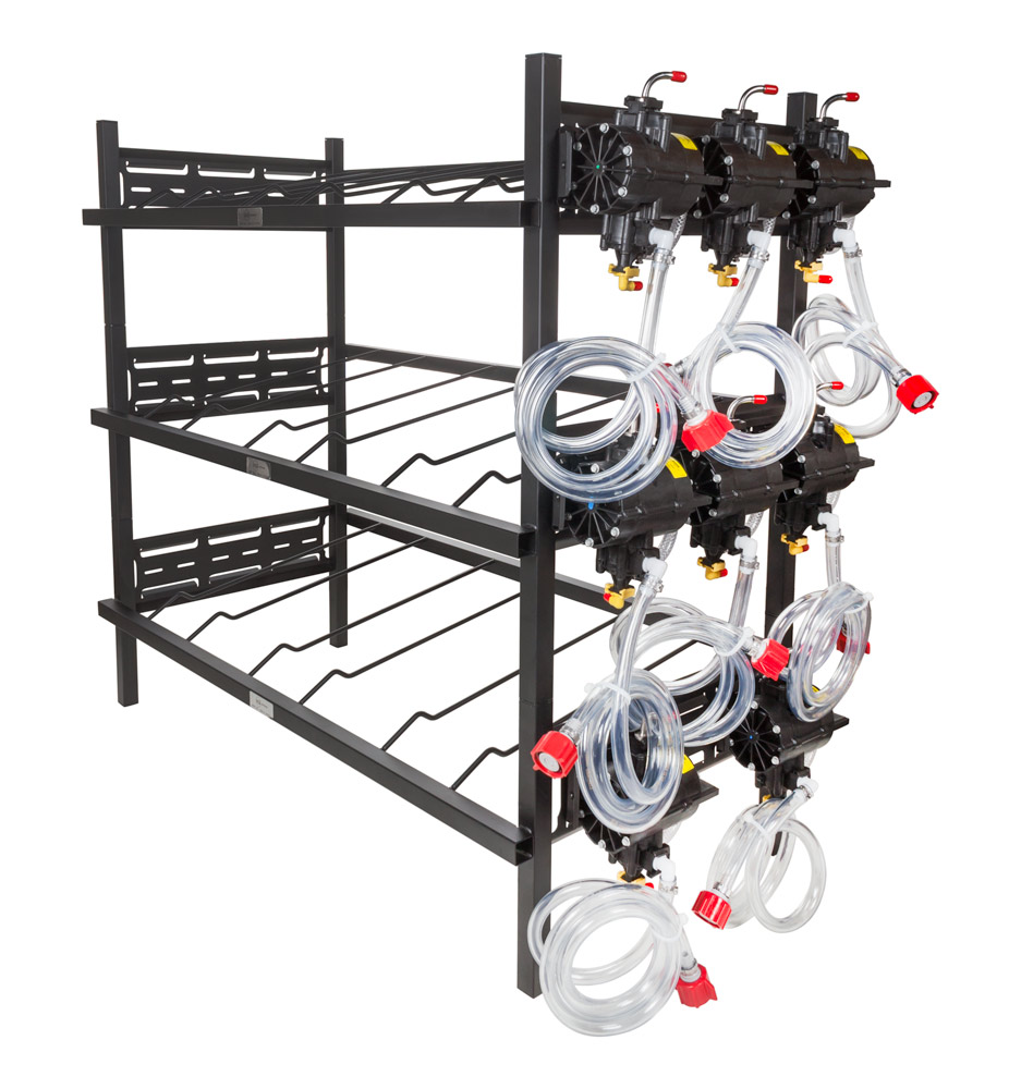3 Triple Racks with 8 SHURflo Syrup Pumps and Secondary Regulator