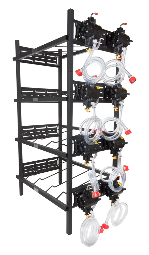 4 Double Racks with 8 SHURflo Syrup Pumps and Secondary Regulator