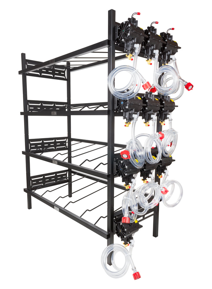 4 Triple Racks with 10 SHURflo Syrup Pumps and Secondary Regulator