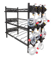 "3 Triple Racks with 8 SHURflo Syrup Pumps and Secondary Regulator 39"" W x 19"" D x 48"" H"
