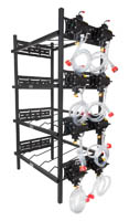 "4 Double Racks with 8 SHURflo Syrup Pumps and Secondary Regulator 27"" W x 19"" D x 60"" H"
