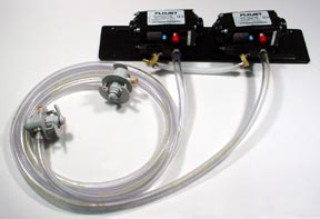 2 Flojet T5000 Series Pumps with BIB Hose and BIB Connects Mounted on Pump Panel