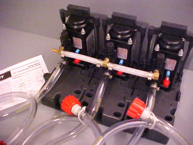 3 Flojet T5000 Series Pumps with BIB Hose and BIB Connects Mounted on Pump Brackets