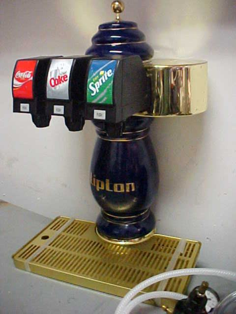 3-Flavor Tower Soda Fountain System with Remote Chiller - Unique Porcelain Tower