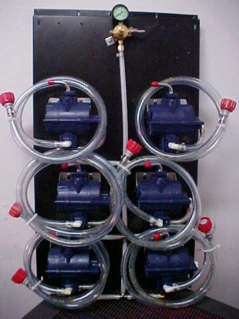 6 SHURflo Syrup Pumps with BIB Hose, BIB Connects and Secondary Regulator Mounted on Pump Panel