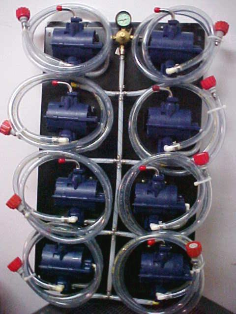 8 SHURflo Syrup Pumps with BIB Hose, BIB Connects and Secondary Regulator Mounted on Pump Panel