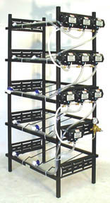 "5 Triple Racks with 10 Flojet Syrup Pumps and Secondary Regulator 17"" L x 39"" W x 80"" H"