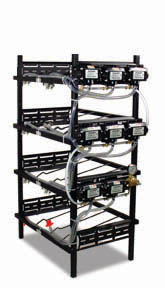 "4 Triple Racks with 8 Flojet Syrup Pumps and Secondary Regulator 17"" L x 39"" W x 64"" H"