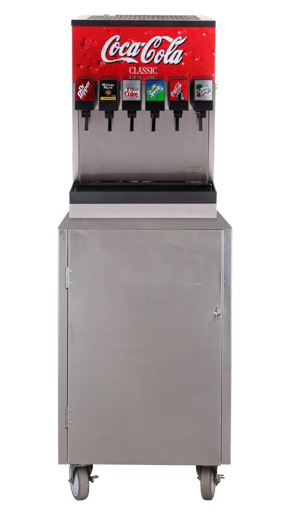 6-Flavor Counter Electric Soda Fountain System w/ Rolling Stainless Cabinet (front)