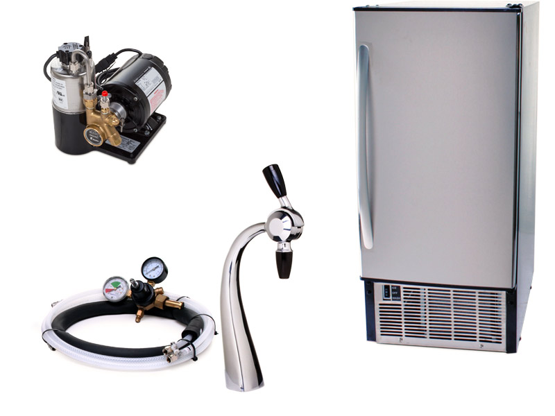 Seltzer Draft Arm Soda Fountain System With Under Counter Ice Maker