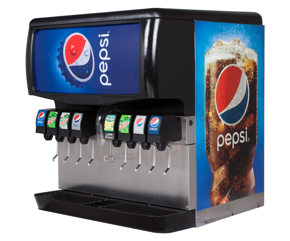 8-Flavor Ice & Beverage Soda Fountain System (angle)