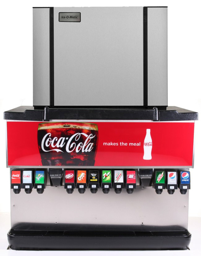 """12-Flavor Ice & Beverage Soda Fountain System with NEW 30"""" Ice Maker"""