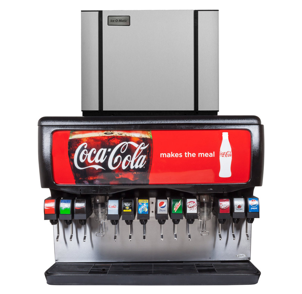 "12-Flavor Ice & Beverage Soda Fountain System with NEW 30"" Ice Maker"