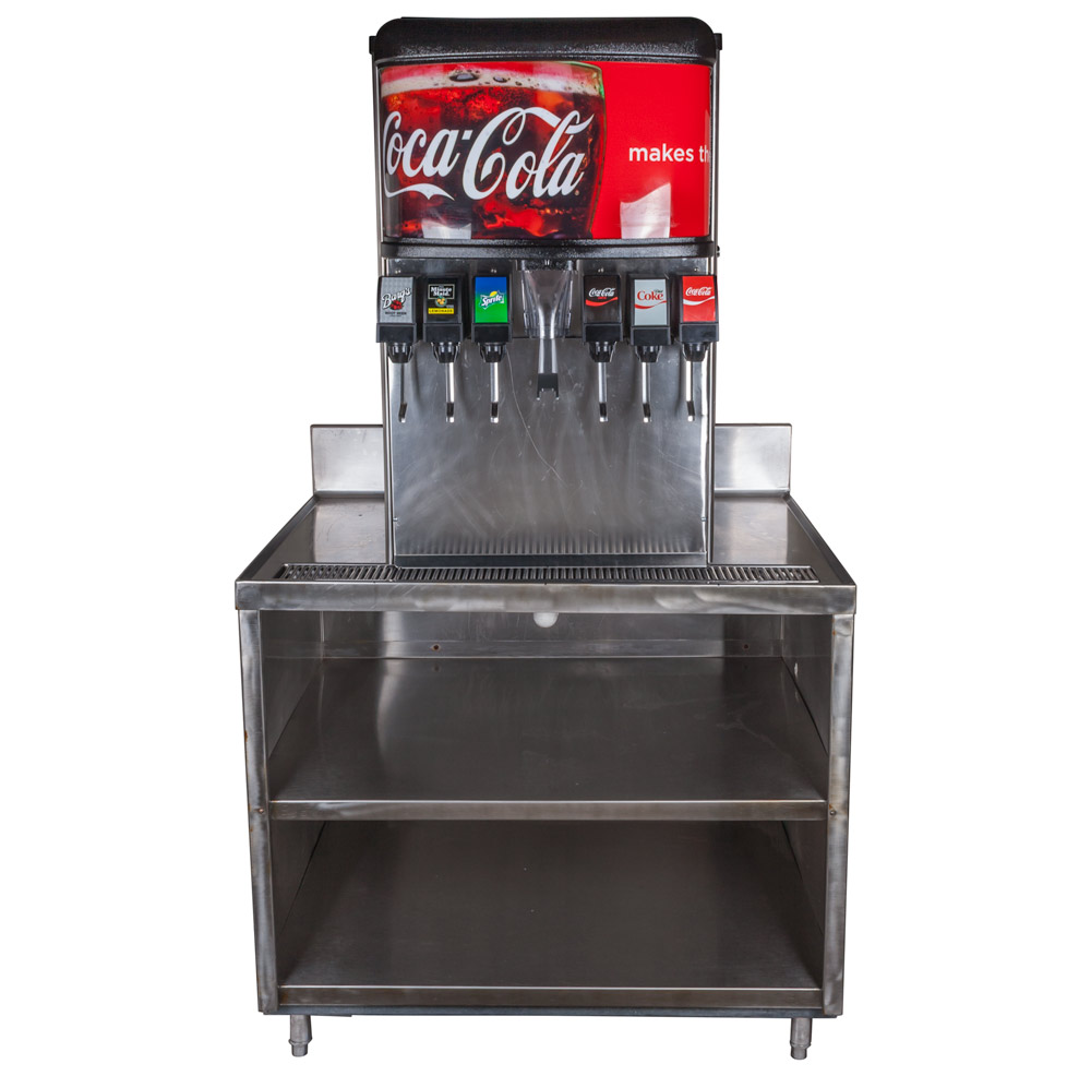 6-Flavor Ice And Beverage Soda Fountain System with Stainless Table