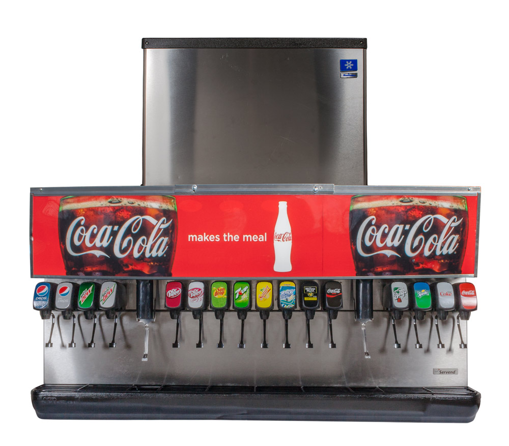 16-Flavor Ice & Beverage Soda Fountain System w/ Ice Maker
