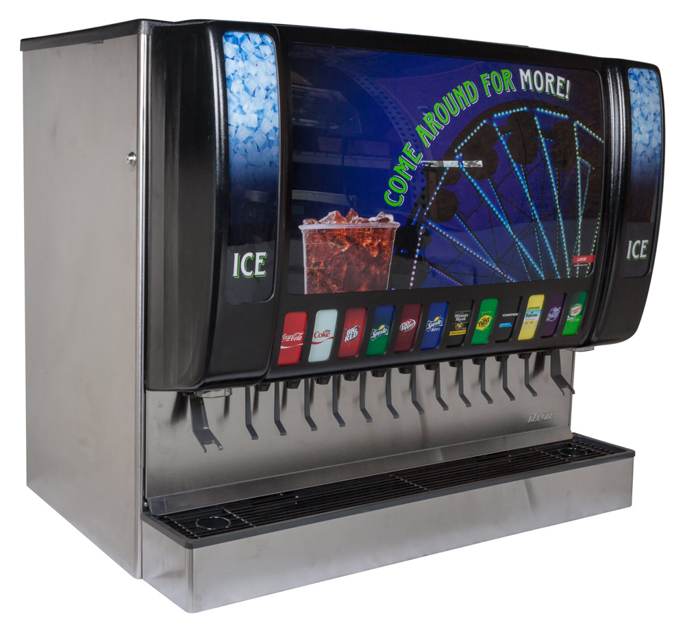 12-Flavor Ice & Beverage Soda Fountain System (angle)