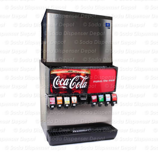 8-Flavor Ice & Beverage Soda Fountain System w/ Manitowoc Ice Maker