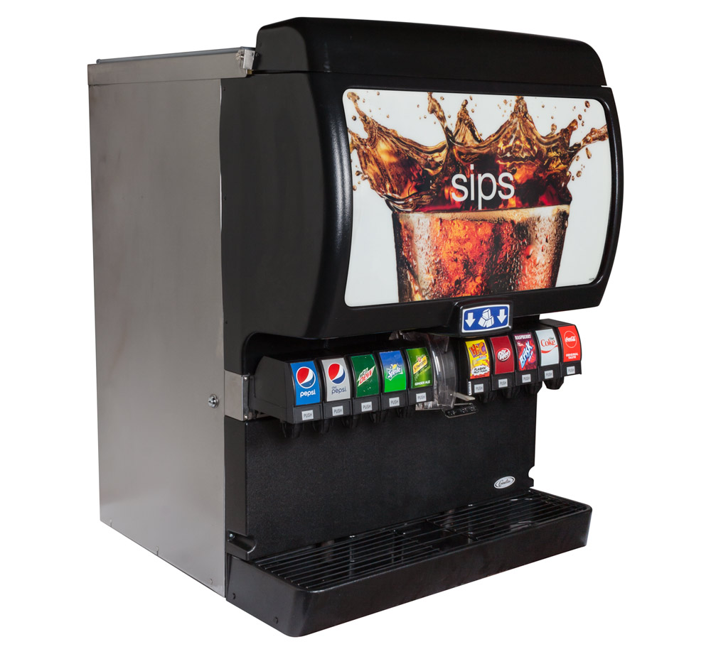 10-Flavor Ice & Beverage Soda Fountain System (angle)