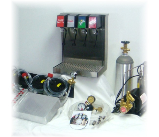 4-Flavor Tower Soda Fountain System with Cold Plate (NEW)