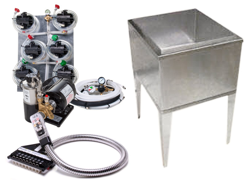 6-Flavor Soda Gun System with 21x23 Freestanding Ice Bin Cold Plate