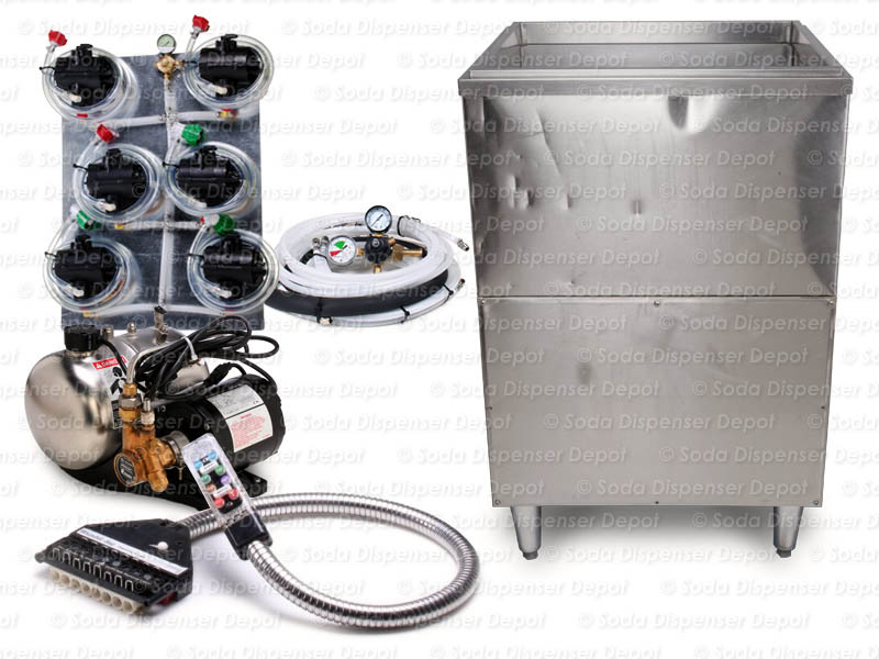 6-Flavor Soda Gun Ice Bin Soda Fountain System