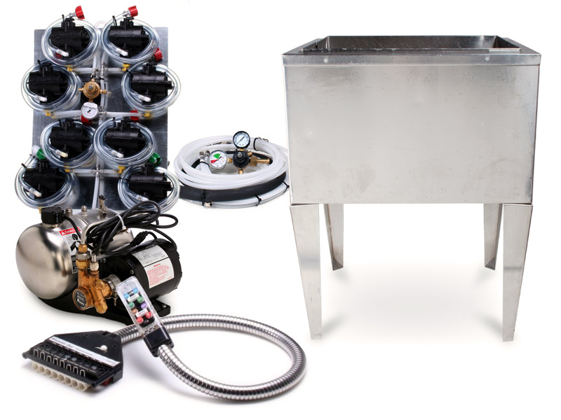 """8-Flavor Soda Gun Fountain System with 21 x 23"""" Ice Bin Cold Plate (freestanding)"""