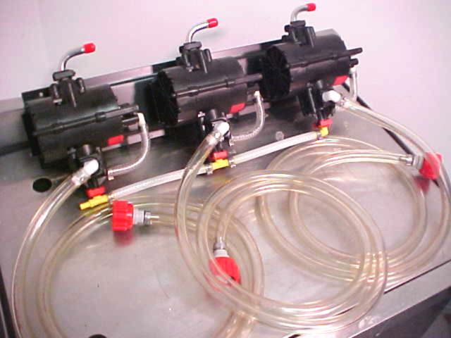 3 SHURflo Syrup Pumps with BIB Hose, BIB Connects Mounted on Pump Panel