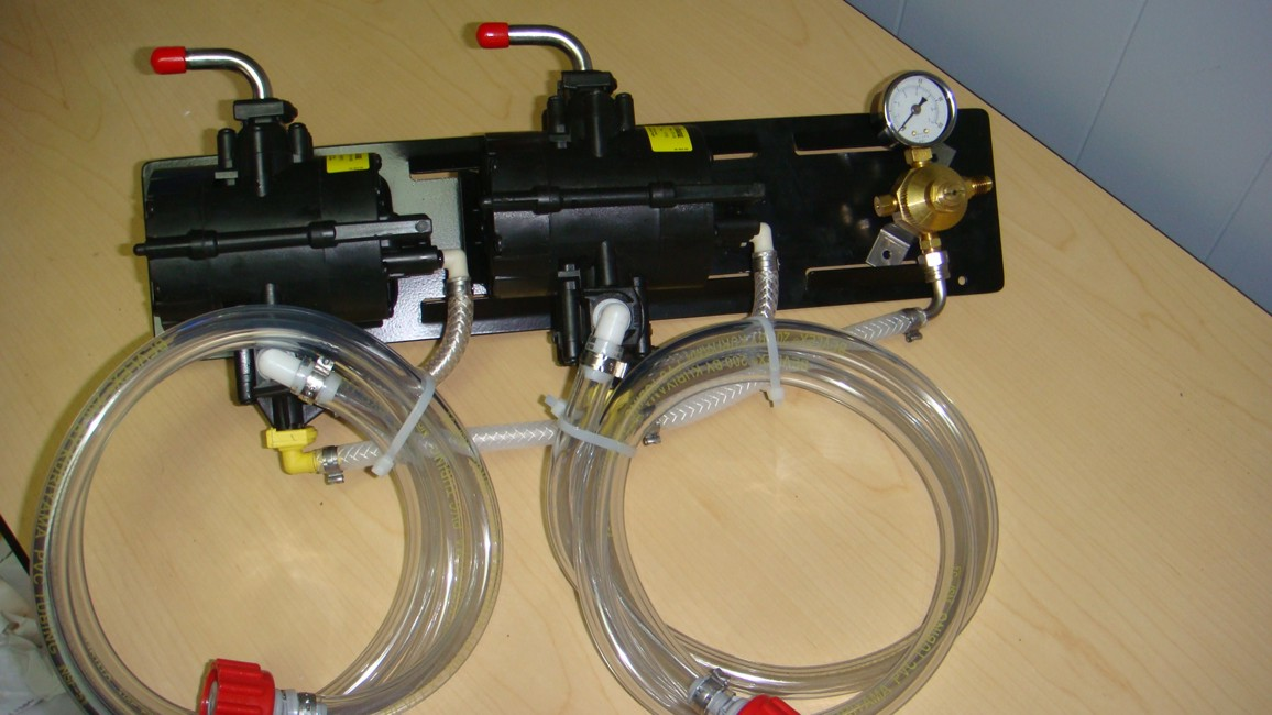 2 SHURflo Syrup Pumps with BIB Hose and BIB Connects Mounted on Pump Panel