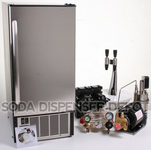 2-Flavor Draft Arm Soda Fountain System With Under Counter Ice Maker