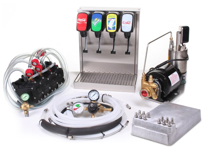 3-Flavor Tower Cold Plate Soda Fountain System