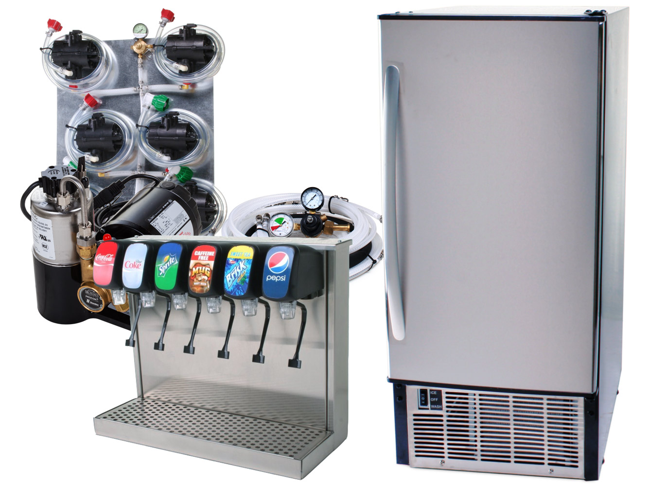 6-Flavor Tower Soda Fountain System with Undercounter Ice Maker