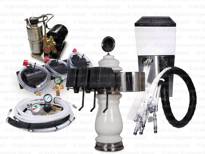 Complete 3-Flavor Porcelain Tower Soda Fountain System w/ Remote Chiller