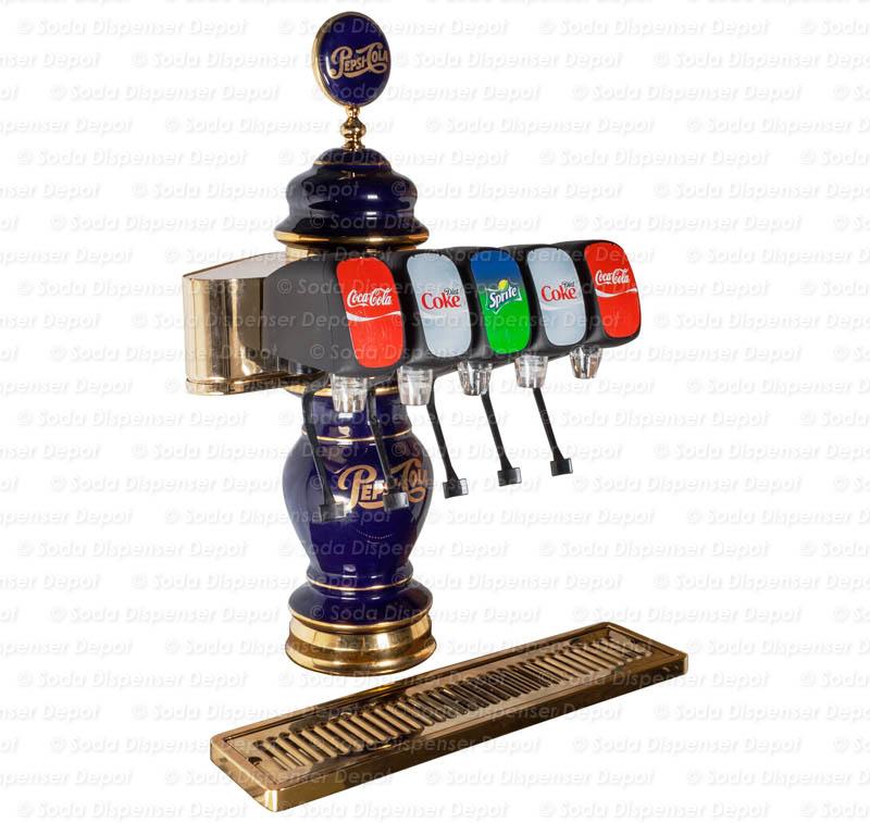 T00555 Complete 5 Flavor Porcelain Pepsi Tower Soda