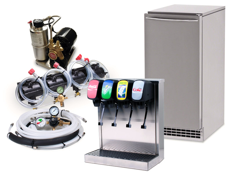 4-Flavor Tower Soda Fountain System with NEW Under Counter Pellet Ice Maker