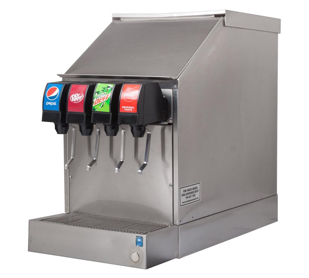4-Flavor Soda Fountain System w/ Ice Bin